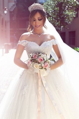 Elegant Off-the-shoulder Lace Wedding Dress Tulle Ball Gown Floor Length BA3477_3