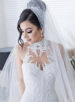 Stunning Halter Lace Wedding Dress | Sexy Mermaid 2019 Bridal Gowns On Sale_3