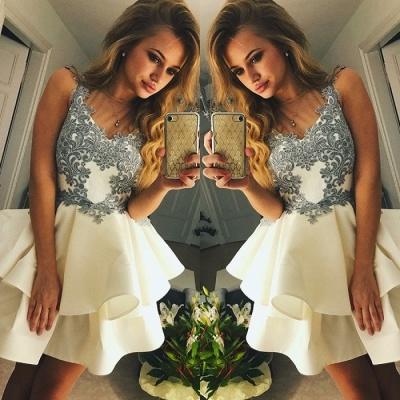 Lovely Sleeveless Short Prom Dress UK | Homecoming Dress UK With Appliques_3