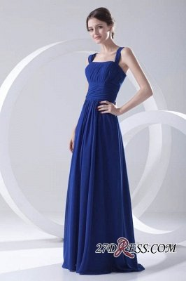 Royal-Blue Straps A-line Sleeveless Newest Ruffles Bridesmaid Dress UK_4