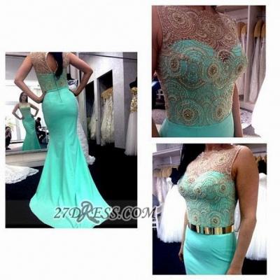 Gorgeous Illusion Sleeveless Chiffon Prom Dress UK With Beadings Golden Sash_2