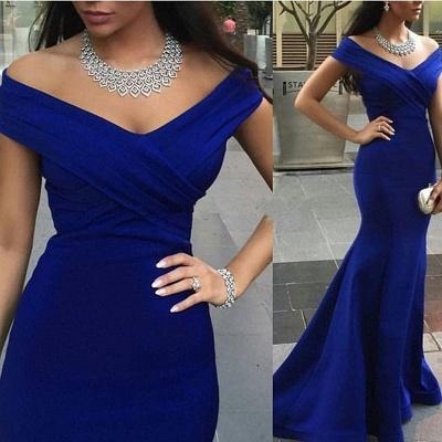 Sexy Royal Blue Mermaid Prom Dress UK Off-the-shoulder Sweep Train_1