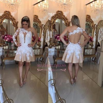 Appliques A-Line Newest One-Shoulder Short Homecoming Dress UKes UK_1