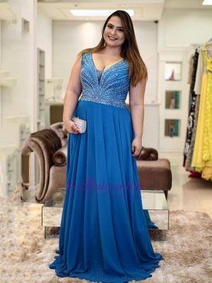 V-neck chiffon prom Dress UK, evening Dress UK with beadings_3