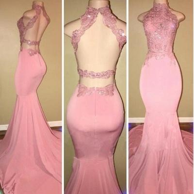Luxury High Neck Pink Lace 2108 Prom Dress UK Mermaid Long On Sale BA7748_3