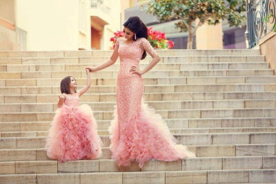 New Pink Chic Ruffles Flower Girl Dresses Ball Gown Sleeveless Formal Party Gowns_2