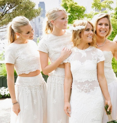Modern White Two Piece A-line Bridesmaid Dress UK Lace Short Sleeve Jewel_7