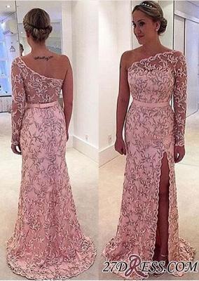 Long One-Shoulder Leaf Pink Pattern Long-Sleeve Prom Dress UK BA4407_2