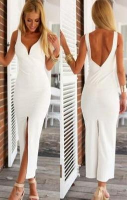 White Spaghetti-Strap Natural Open-Back Elegant Sheath Evening Dress UKes UK_2