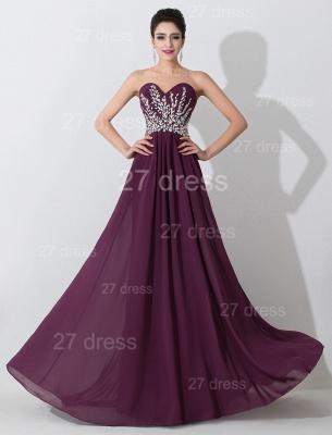 Modern Sweetheart Sleeveless Chiffon Evening Dress UK Crystals Sweep Train_1