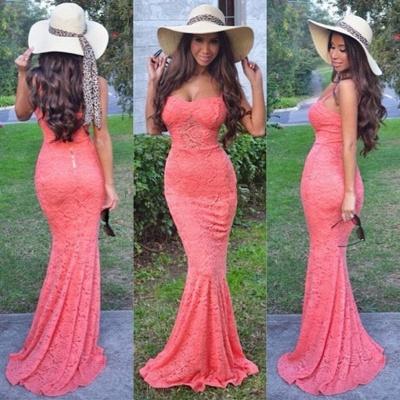 Lovely Lace Spaghetti Straps Sweetheart Prom Dress UK Mermaid_2