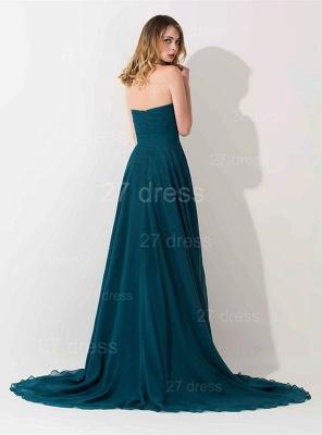 Elegant Hi-Lo Chiffon A-line Evening Dress UK Crystals Sweep Train_2