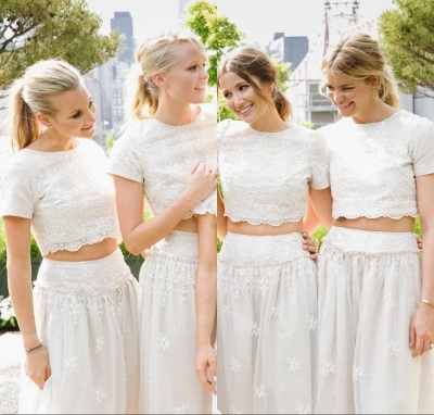 Modern White Two Piece A-line Bridesmaid Dress UK Lace Short Sleeve Jewel_6