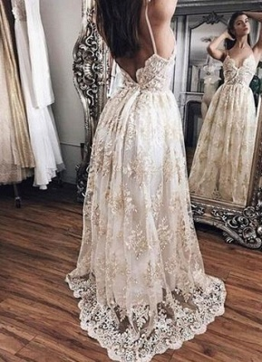Floor-Length Hot Lace Newest Backless Champagne Evening Dress UK BA5064_2