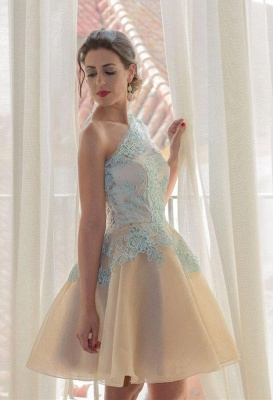 Charming One Shoulder Blue Lace Homecoming Dress UK New Arrivals Short Prom Dress UK_1