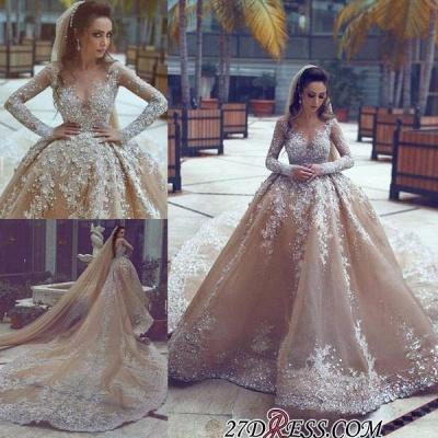 Ball-Gown Appliques Long-Sleeve Luxurious Beadss Wedding Dress_1