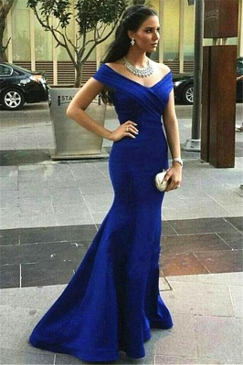 Sexy Royal Blue Mermaid Prom Dress UK Off-the-shoulder Sweep Train_2