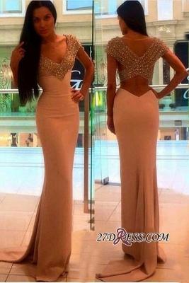 V-Neck Sheath Short-Sleeves Elegant Crystal Prom Dress UK BA4602_2