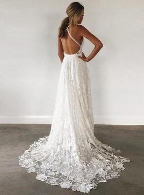A-line Spaghetti Strap Wedding Dress   Side Split Bridal Dress_3