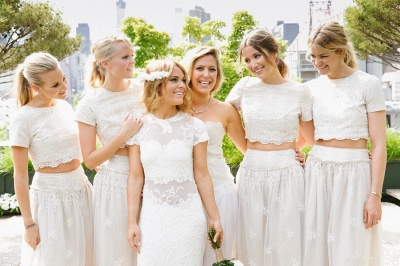 Modern White Two Piece A-line Bridesmaid Dress UK Lace Short Sleeve Jewel_4