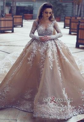 Ball-Gown Appliques Long-Sleeve Luxurious Beadss Wedding Dress_3