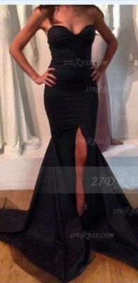 Sweetheart Black Prom Dress UK with Slit Satin Mermaid Gown Sweep Train Evening Side_1