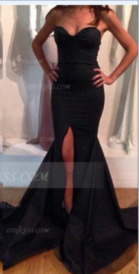 Sweetheart Black Prom Dress UK with Slit Satin Mermaid Gown Sweep Train Evening Side_2