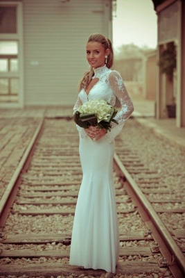 White Sexy Mermaid High Neck Wedding Dress Lace Appliques_5