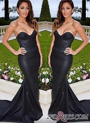 Sweetheart Black Mermaid Elegant Sweep-Train Evening Dress UK_1
