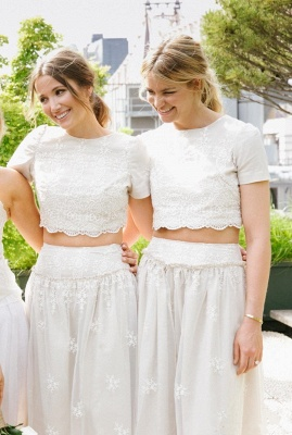 Modern White Two Piece A-line Bridesmaid Dress UK Lace Short Sleeve Jewel_5