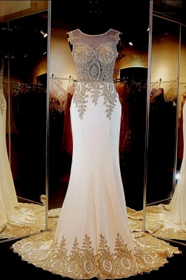 Gorgeous Illusion Cap Sleeve Prom Dress UK With Beadings Appliques_3