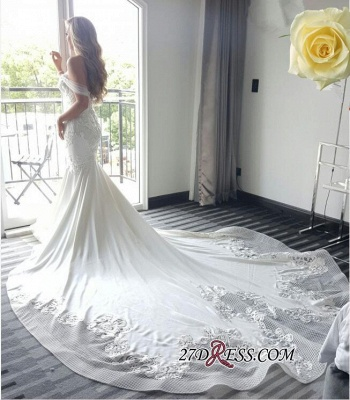 Off-the-shoulder Delicate Sexy Mermaid Train Lace-Appliques Wedding Dress_1