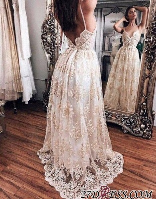 Floor-Length Hot Lace Newest Backless Champagne Evening Dress UK BA5064_1