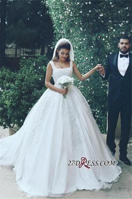 Appliques Tulle Square Elegant Ball New Sleeveless Wedding Dresses UK BA4133_3