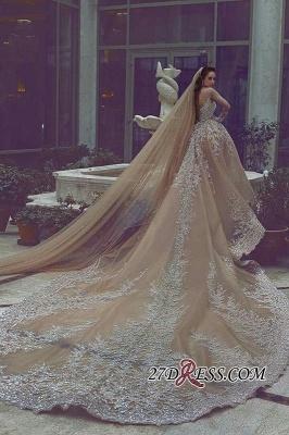 Ball-Gown Appliques Long-Sleeve Luxurious Beadss Wedding Dress_2