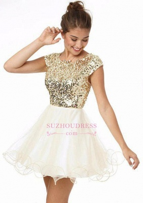 Newest Sequined Mini Jewel Homecoming Dress UK Cap Sleeve A-line_1