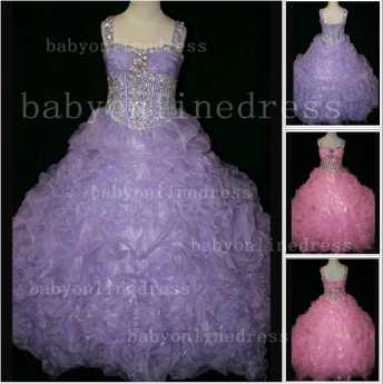 Girls Beauty Pageant Dresses for Girls Affordable Wholesale Beaded Crystal Gowns Flower_1