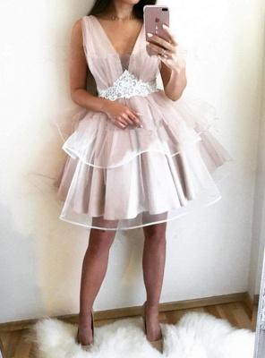 Lovely V-Neck Sleeveless 2019 Homecoming Dress UK | Tulle Short Party Dress UK_3