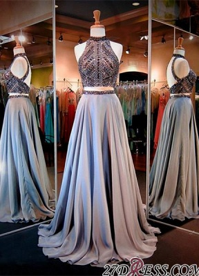 Luxury Crystals High-Neck A-line Two-Piece Evening Dress UK_3