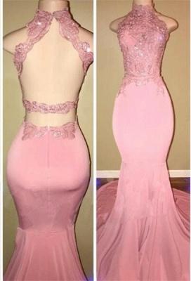 Luxury High Neck Pink Lace 2108 Prom Dress UK Mermaid Long On Sale BA7748_1