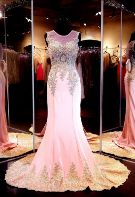 Gorgeous Illusion Cap Sleeve Prom Dress UK With Beadings Appliques_4