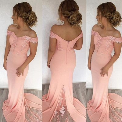 Sexy Off-the-Shoulder Mermaid Evening Dress UK With Lace Appliques_3