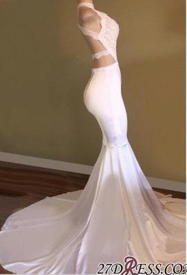 White Sleeveless Newest Mermaid High-Neck Prom Dress UK_2