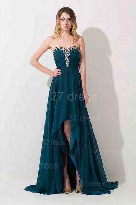 Elegant Hi-Lo Chiffon A-line Evening Dress UK Crystals Sweep Train_3