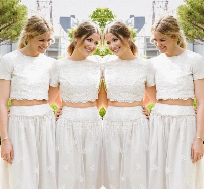 Modern White Two Piece A-line Bridesmaid Dress UK Lace Short Sleeve Jewel_3