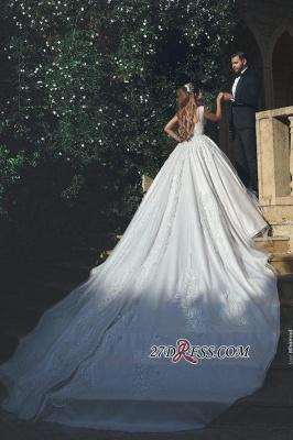 Appliques Tulle Square Elegant Ball New Sleeveless Wedding Dresses UK BA4133_2