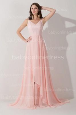 Long V-neck Sexy Prom Dress UK Chiffon sleeveless Evening Gowns_2
