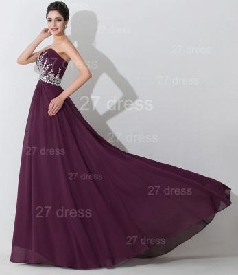 Modern Sweetheart Sleeveless Chiffon Evening Dress UK Crystals Sweep Train_3
