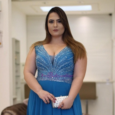 V-neck chiffon prom Dress UK, evening Dress UK with beadings_2