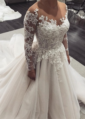 Long-Sleeve Wedding Dress | Tulle Bridal Gowns With Appliques_1